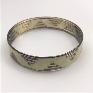 Vintage Aztec Simple Gold Cream Bangle Bracelet